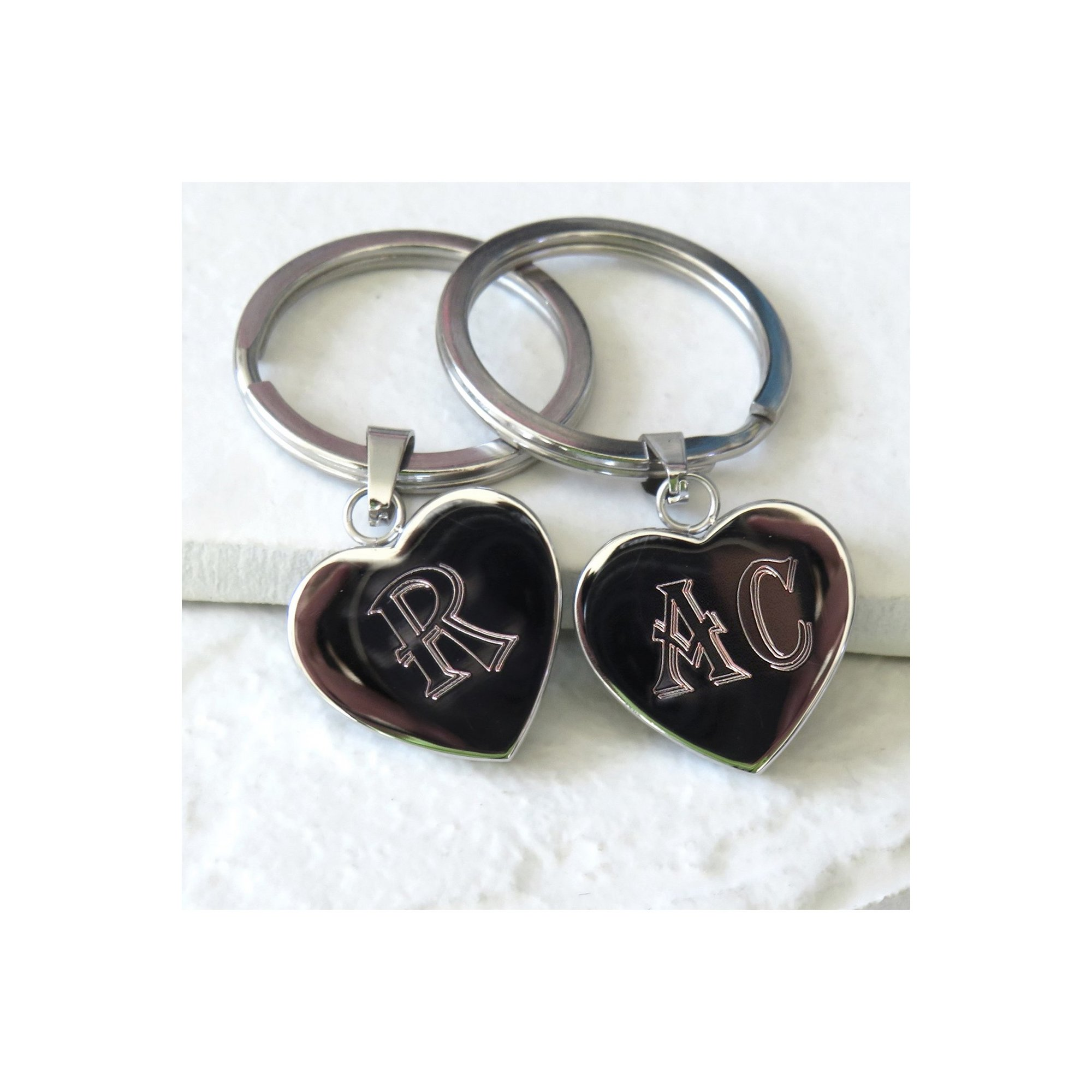 Image of Personalised Initials Heart Metal Keyring