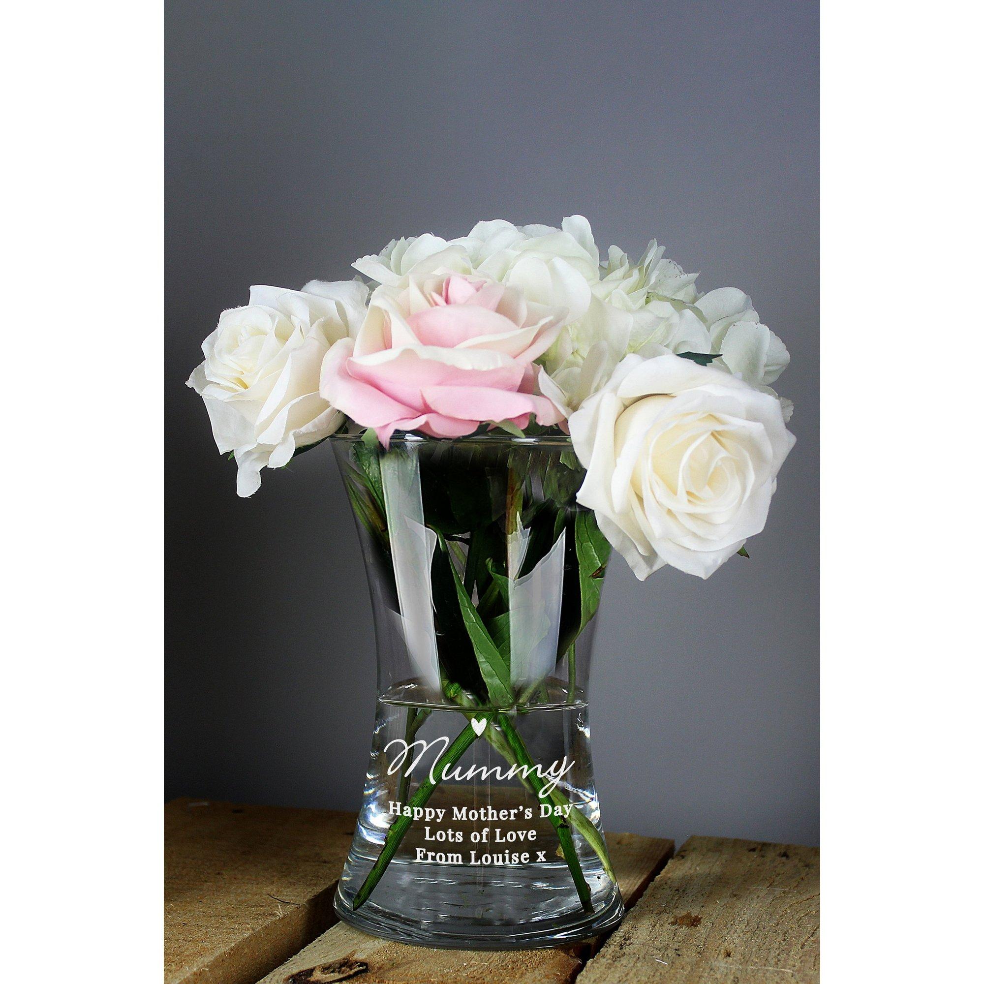 Image of Personalised Love You Mum Waisted Glass Vase