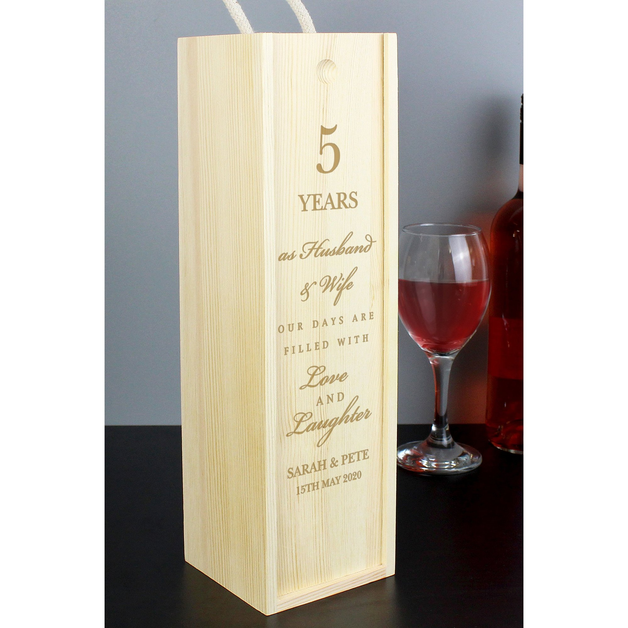 Image of Personalised Anniversary Wooden Wine Bottle Box