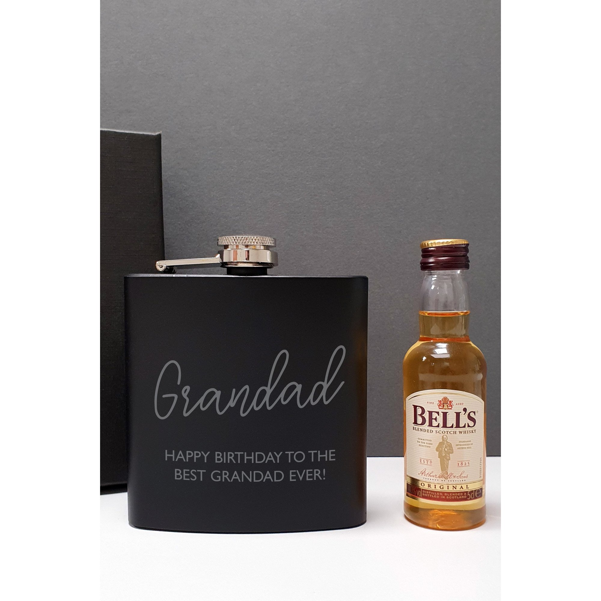 Image of Personalised Black Hip Flask and Miniature Bells