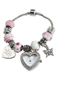 Personalised Pink Charm Watch Bracelet