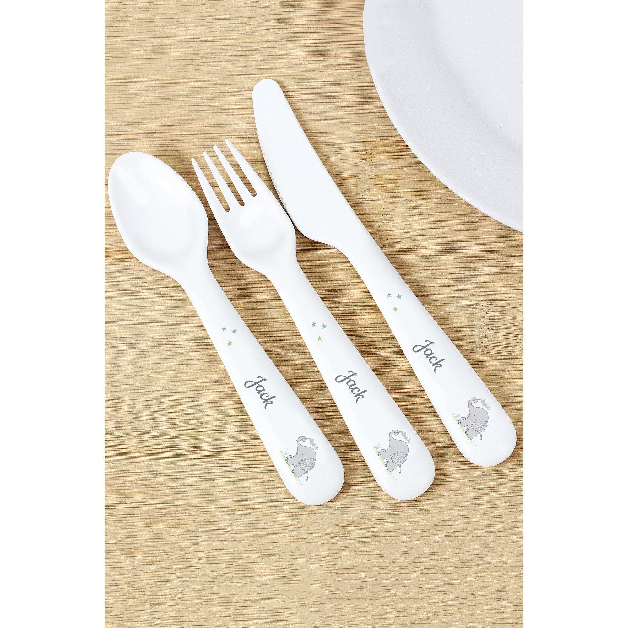 Image of Personalised Hessian Elephant 3 Piece Plastic Cutlery Set