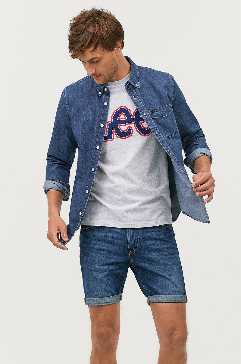Jeansskjorte Button Down Dipped Blue