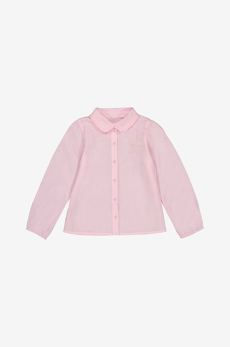 590802167 La Redoute Collections Bluse med rund krage med volang - Rosa - Barn ...