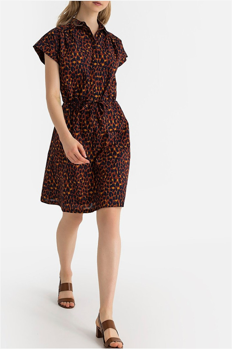 77ecf54a La Redoute Collections Leopardmønstret skjortekjole med korte ermer ...