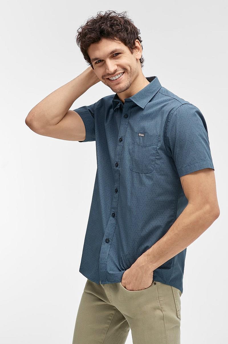 Ellos Men Skjorta i mönstrad bomull - Blå - Herr - Ellos.se b74dd792611aa