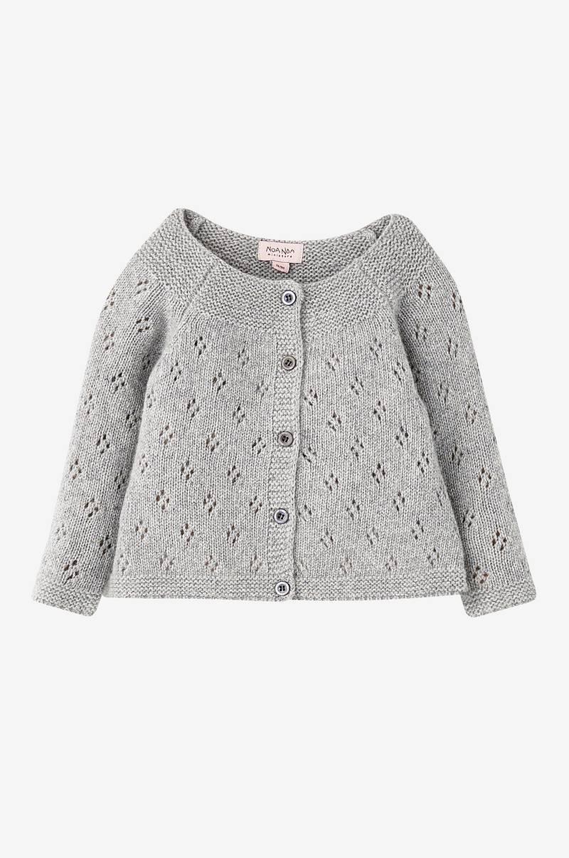 Noa Noa Cardigan Baby Basic Wool Knit - Grå - Børn - Ellos.dk