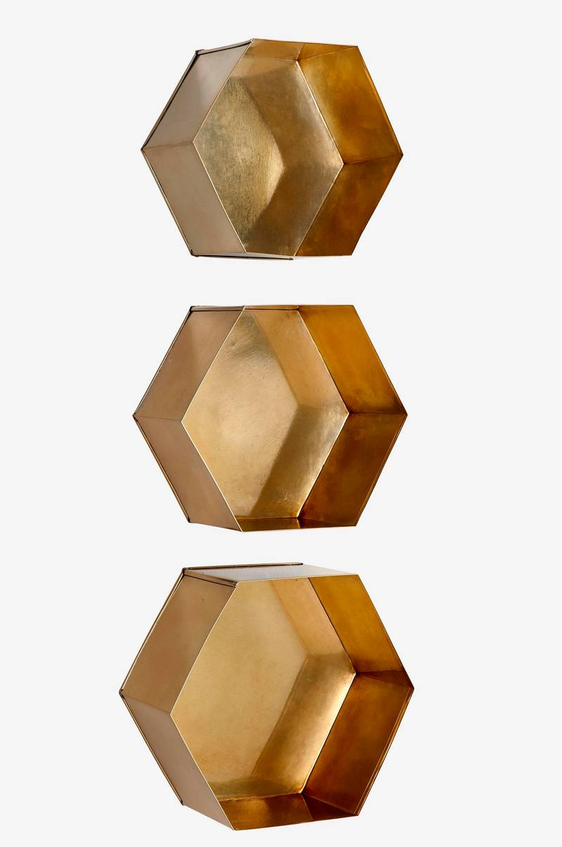 Vägghylla Hexagon, 3-pack