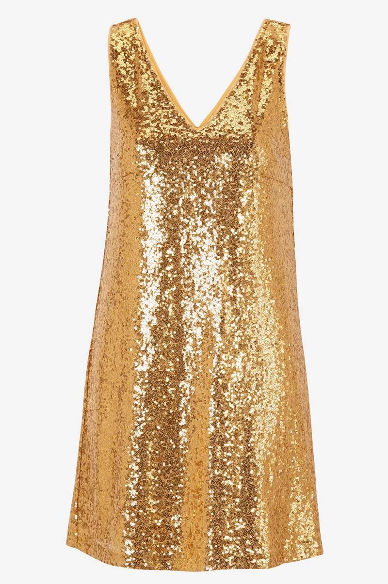klänning guld paljetter