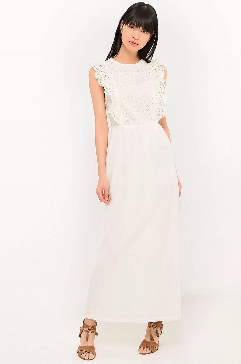 c18f03e5 La Redoute Collections Lang kjole i to materialer - Hvit - Dame ...