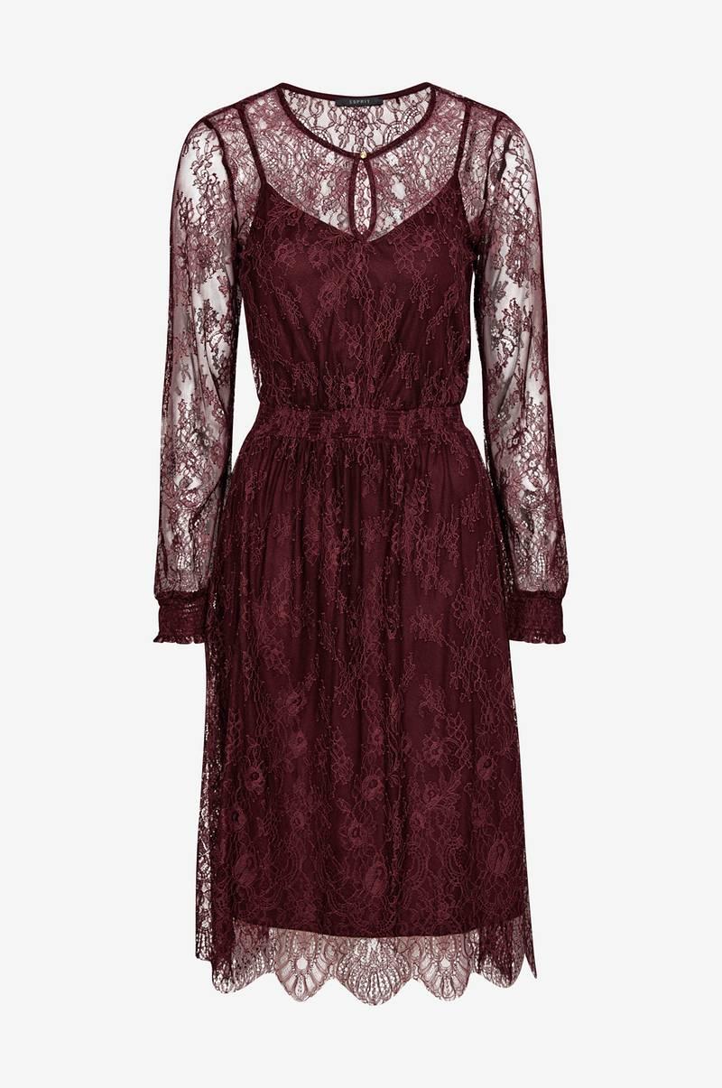 1f294ae156e5 Esprit Blondekjole Fine Lace Dress - Rød - Dame - Ellos.dk