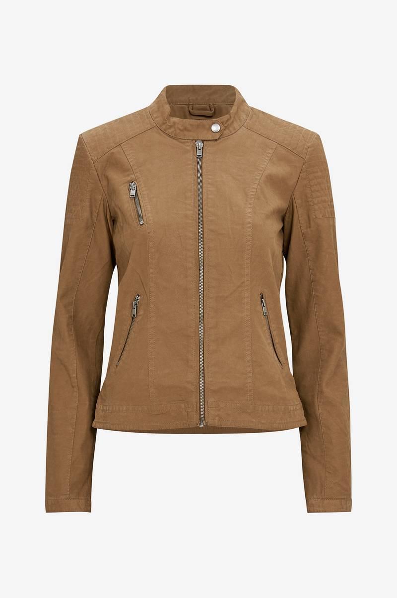 b4e10b68 Only Jakke onlSteady Faux Leather Jacket - Brun - Dame - Ellos.no