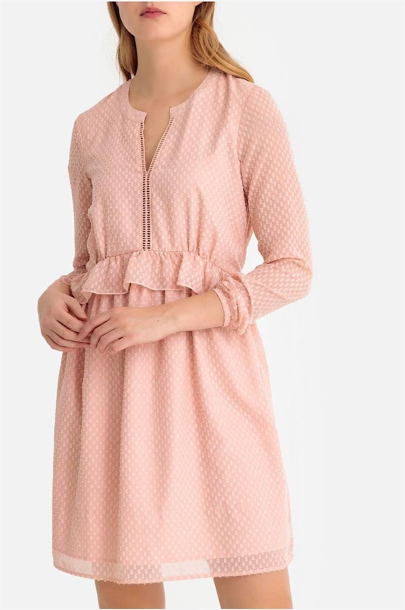 bff64dc5 La Redoute Collections Utsvingt, halvlang kjole med volanger - Rosa ...