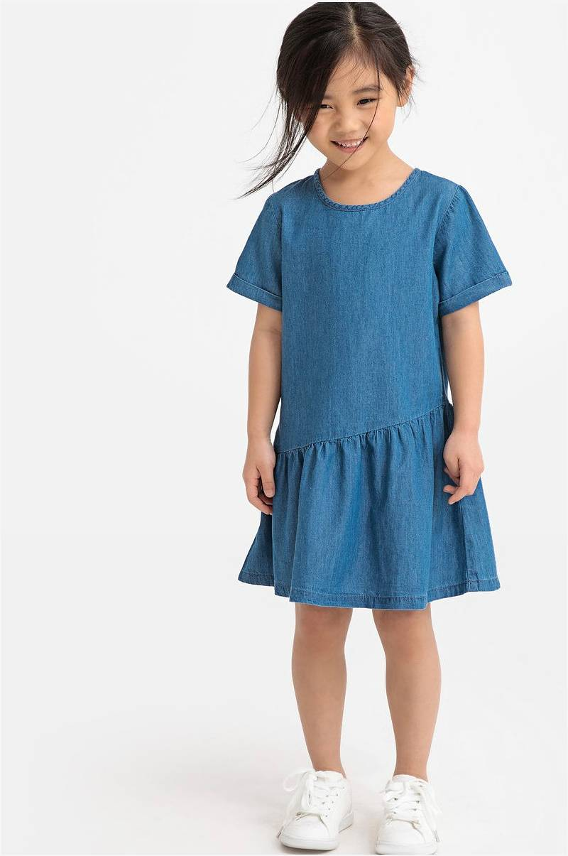 33911b3d La Redoute Collections Utsvingt kjole med korte ermer - Grå - Barn ...