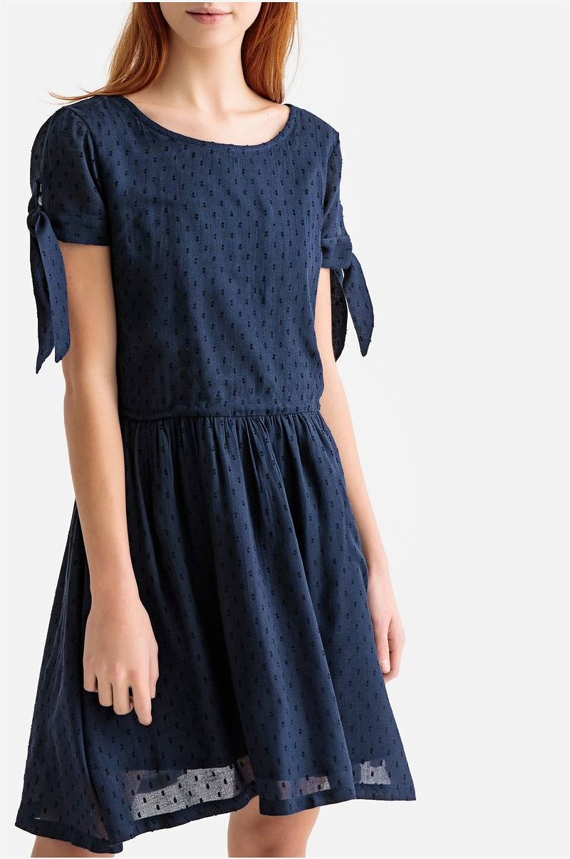 55bd739f La Redoute Collections Utsvingt kjole med korte ermer - Blå - Dame ...