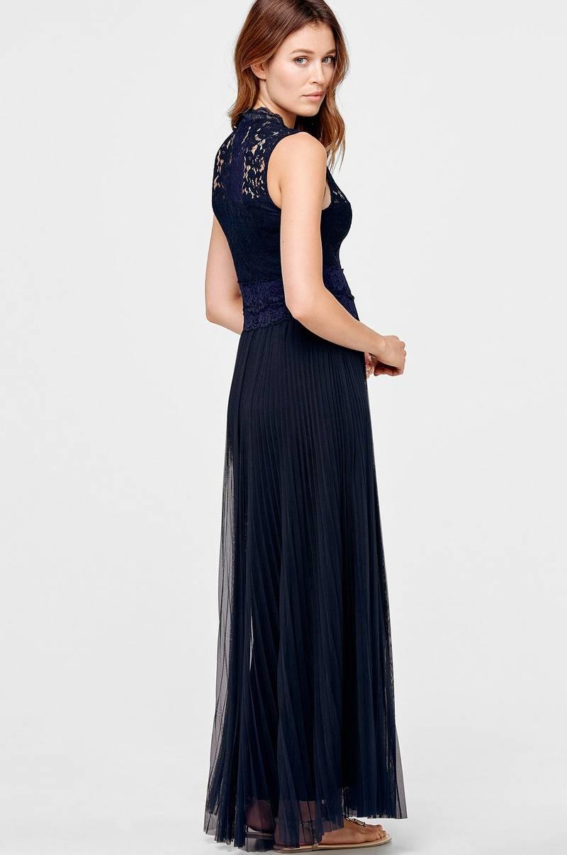c0cc68e35 Ellos Collection Lang kjole med blonde og plissering - Blå - Dame ...