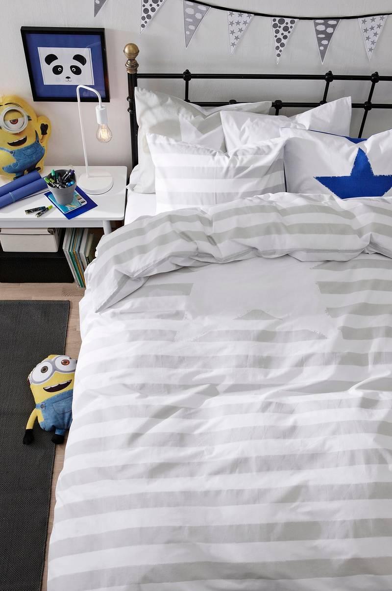 Oppsiktsvekkende Kid stripe KID STRIPE sengesett 2 deler - økologisk - Grå KS-56