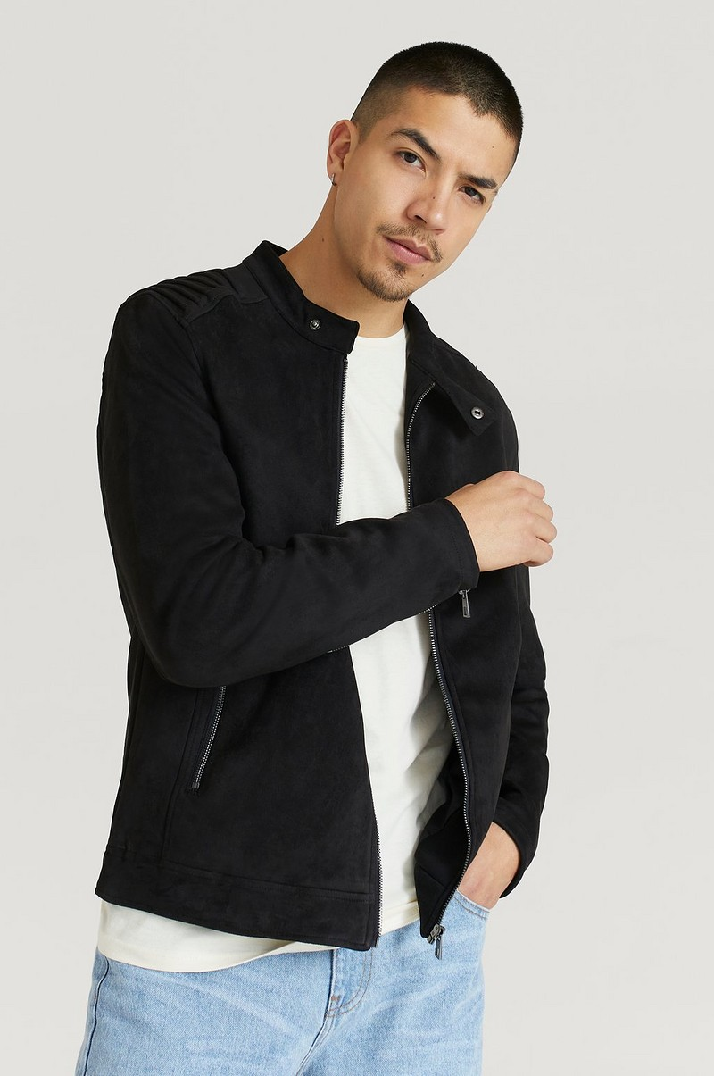 Fake Suede Racer Jacket