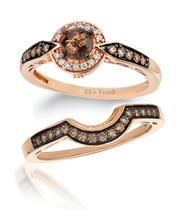 Le Vian 14ct Strawberry Gold Chocolate Quartz Ring
