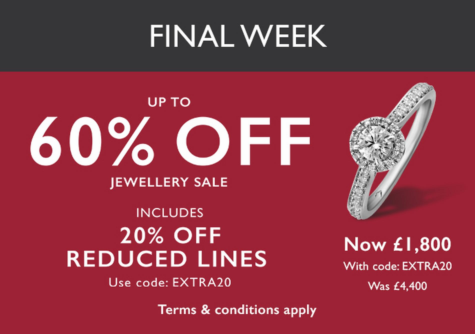 Up to Half Price Sale on jewellery and watches at Ernest Jones