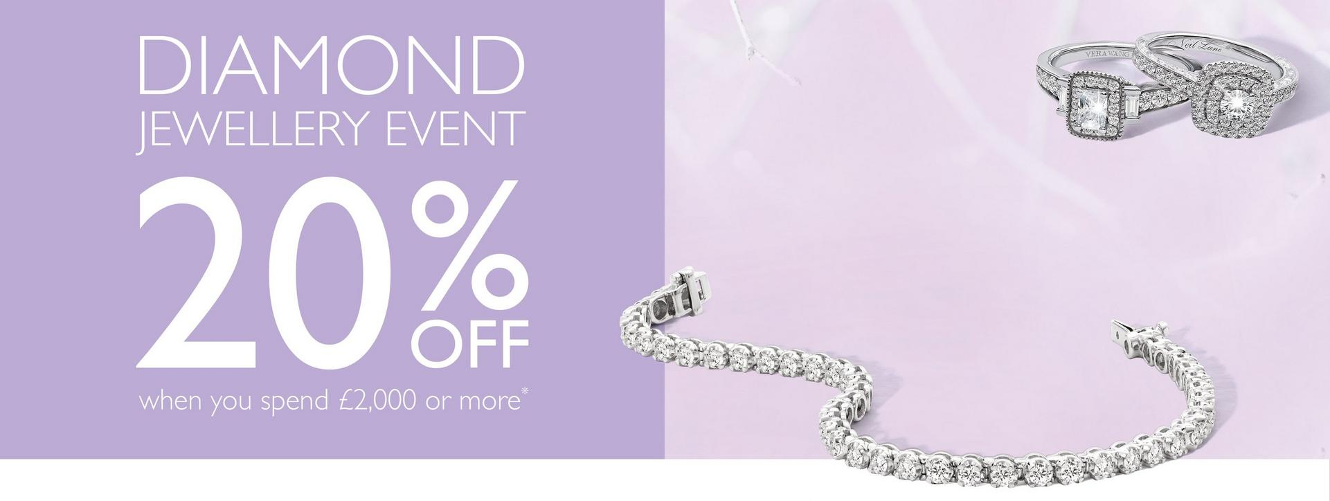 Diamond Jewellery Event - 20% off diamond rings and jewellery when you spend £2,000 or more at Ernest Jones - ends Sunday