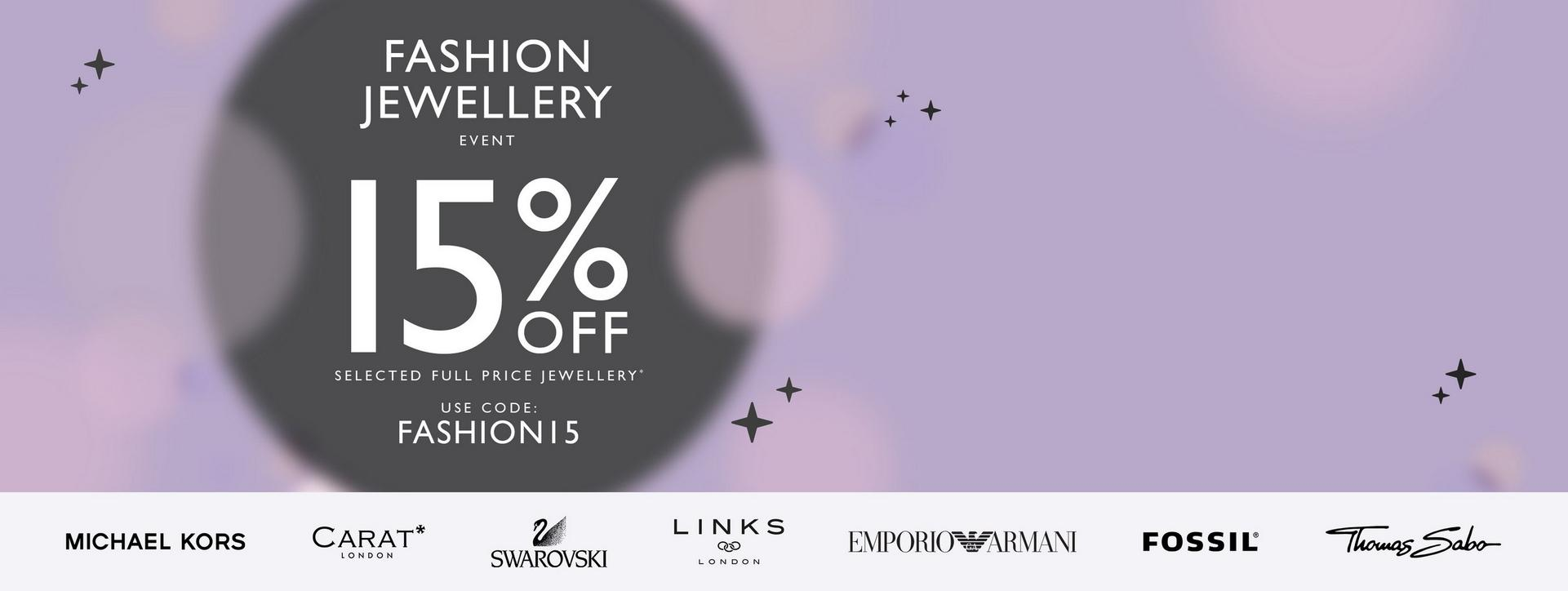 Get 15% off full price jewellery from famous fashion brands with code FASHION15 at Ernest Jones