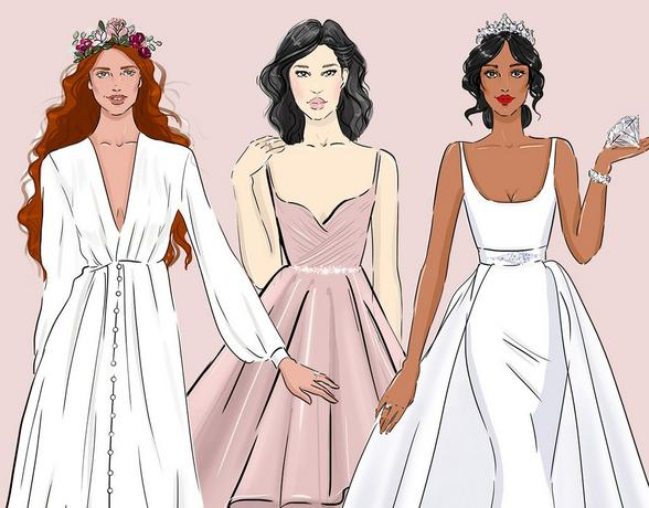 3 brides in different style of dresses