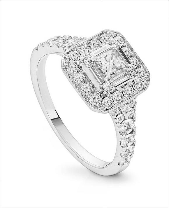 18ct White Gold One Carat Princess Cut Diamond Ring