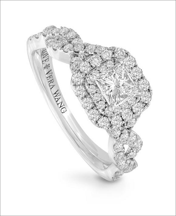 Vera Wang 18ct White Gold 95pt Diamond Double Halo Ring