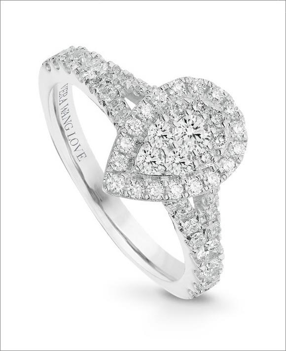Vera Wang 18ct White Gold 0.70ct Diamond Pear Cluster Ring
