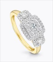 9ct Yellow Gold Three Stone 1/2 Carat Diamond Halo Ring