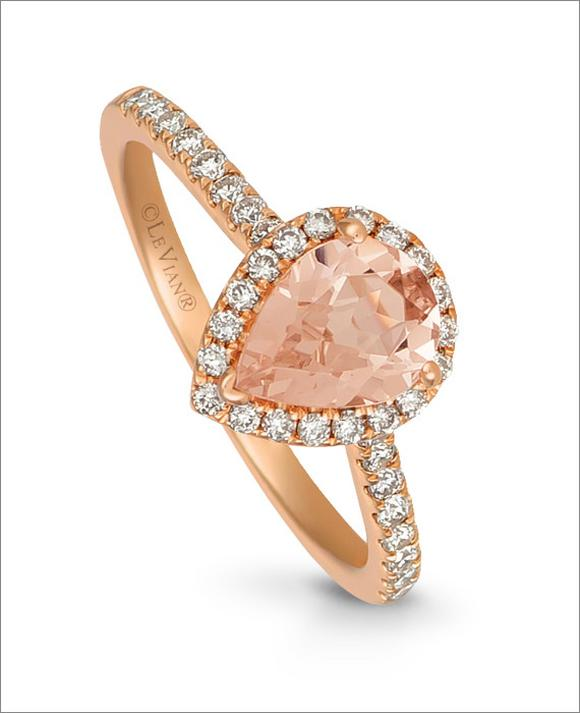 Le Vian 14ct Strawberry Gold Pear Peach Morganite Ring
