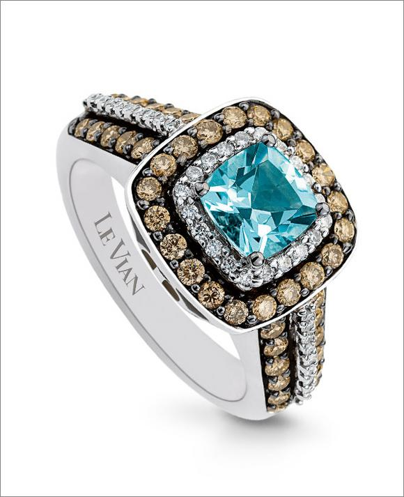 Le Vian 14CT Gold 0.76CT Diamond & Sea Blue Aquamarine Ring