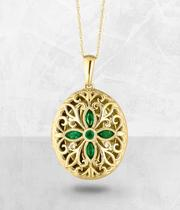 9ct Gold Diamond & Emerald Locket