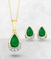 9ct Yellow Gold Emerald And Diamond Jewellery Set