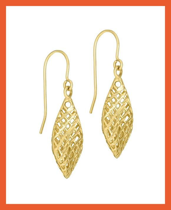 9ct Yellow Gold Cutout Drop Earrings