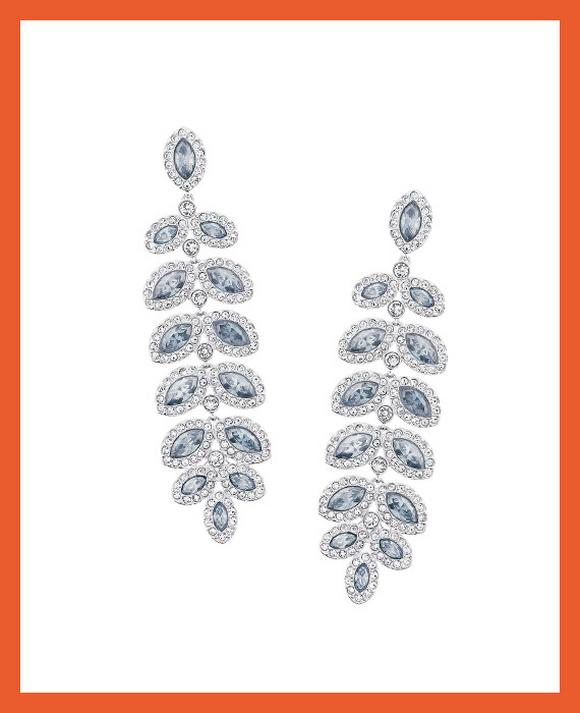 Swarovski Baron Rhodium Plated Drop Earrings