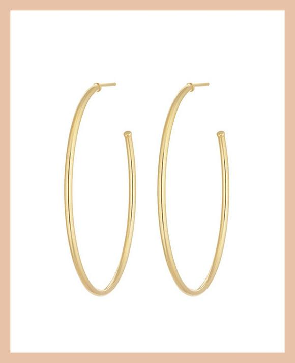 9ct Yellow Gold Skinny 37mm Hoop Earrings