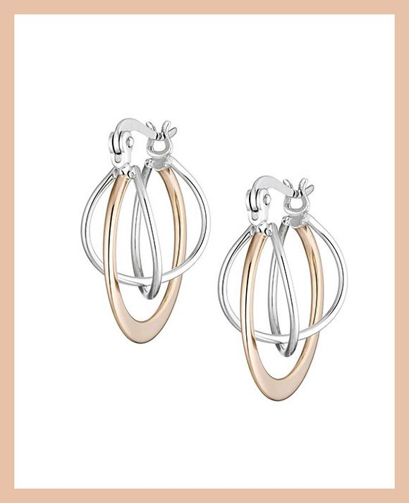 Two Tone Orbit Hoop Earrings