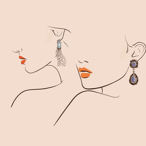 Two ladies wearing earrings