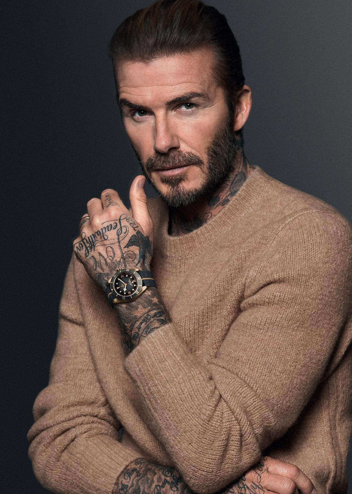 David Beckham with a Tudor watch on his wrist