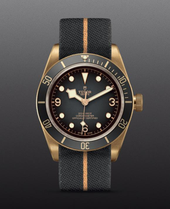 Tudor Black Bay Bronze Men's Grey Fabric Strap Watch