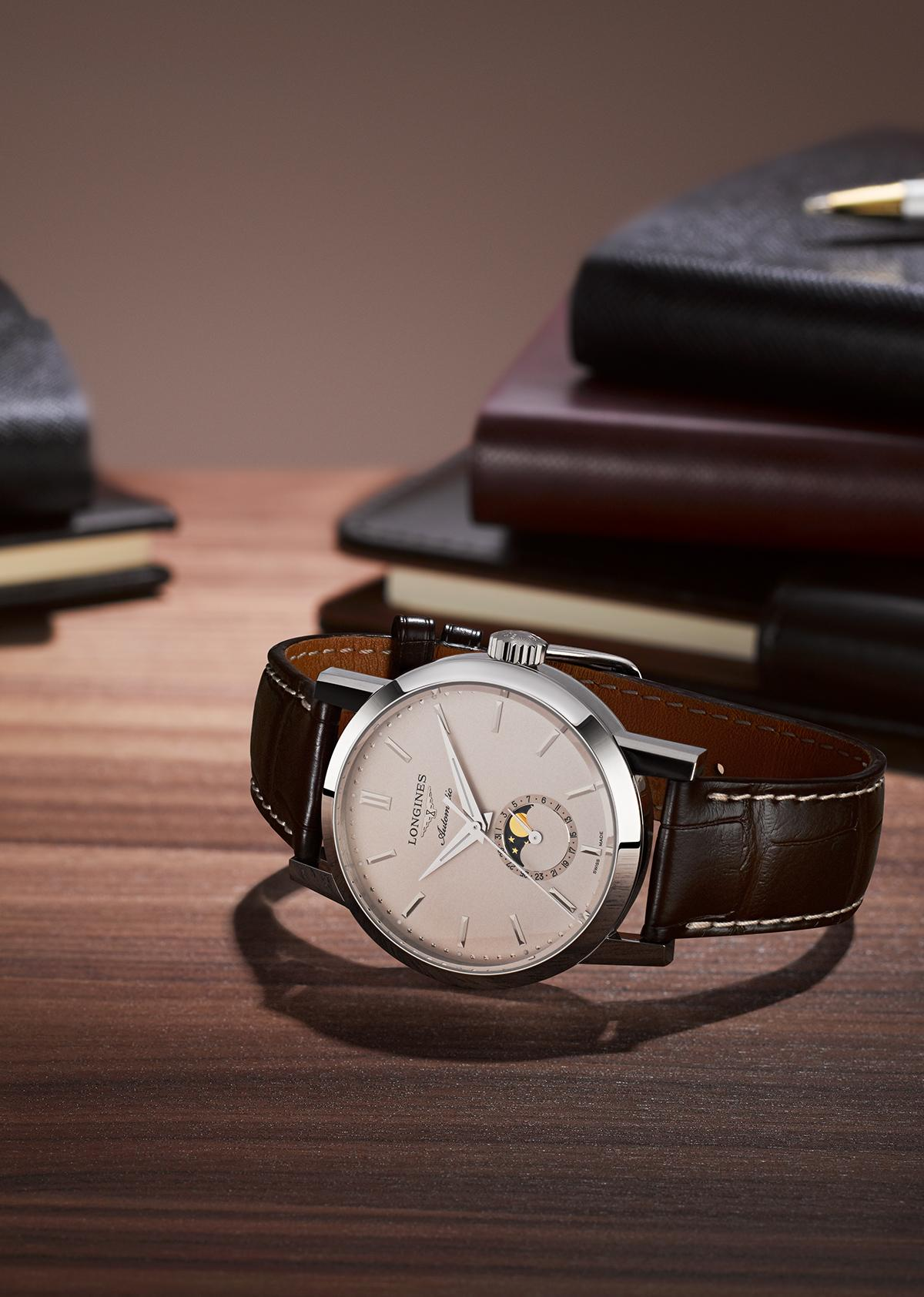A New Chapter in the Longines 1832 Iconic Tale. The Longines 1832 Moonphase Men's Brown Leather Strap Watch with a unique moon-phase feature on its side.