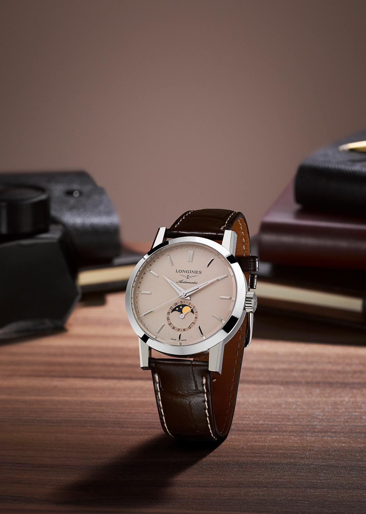 A New Chapter in the Longines 1832 Iconic Tale. The Longines 1832 Moonphase Men's Brown Leather Strap Watch with a unique moon-phase feature.