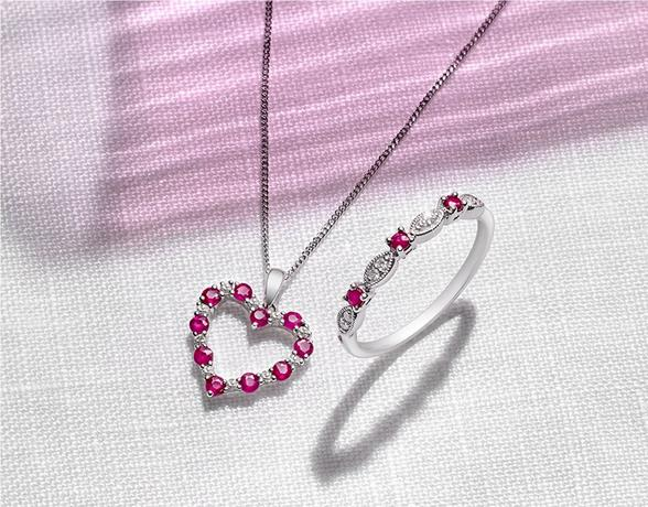 Ruby heart pendant necklace and ruby ring