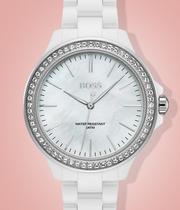 BOSS Victoria Ladies' White Ceramic Bracelet Watch