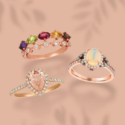 Coloured and Nude diamond gemstone rings
