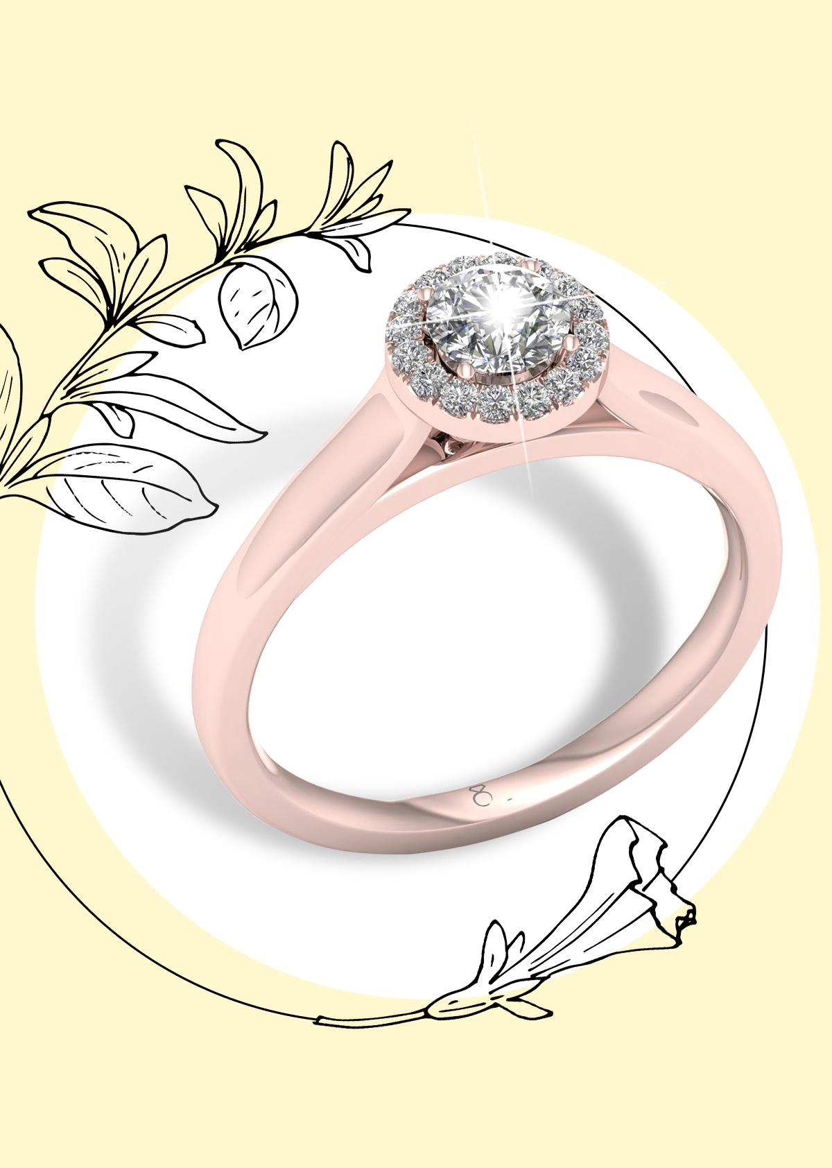 The Diamond Story 18ct Rose Gold 0.33ct Round Halo Ring