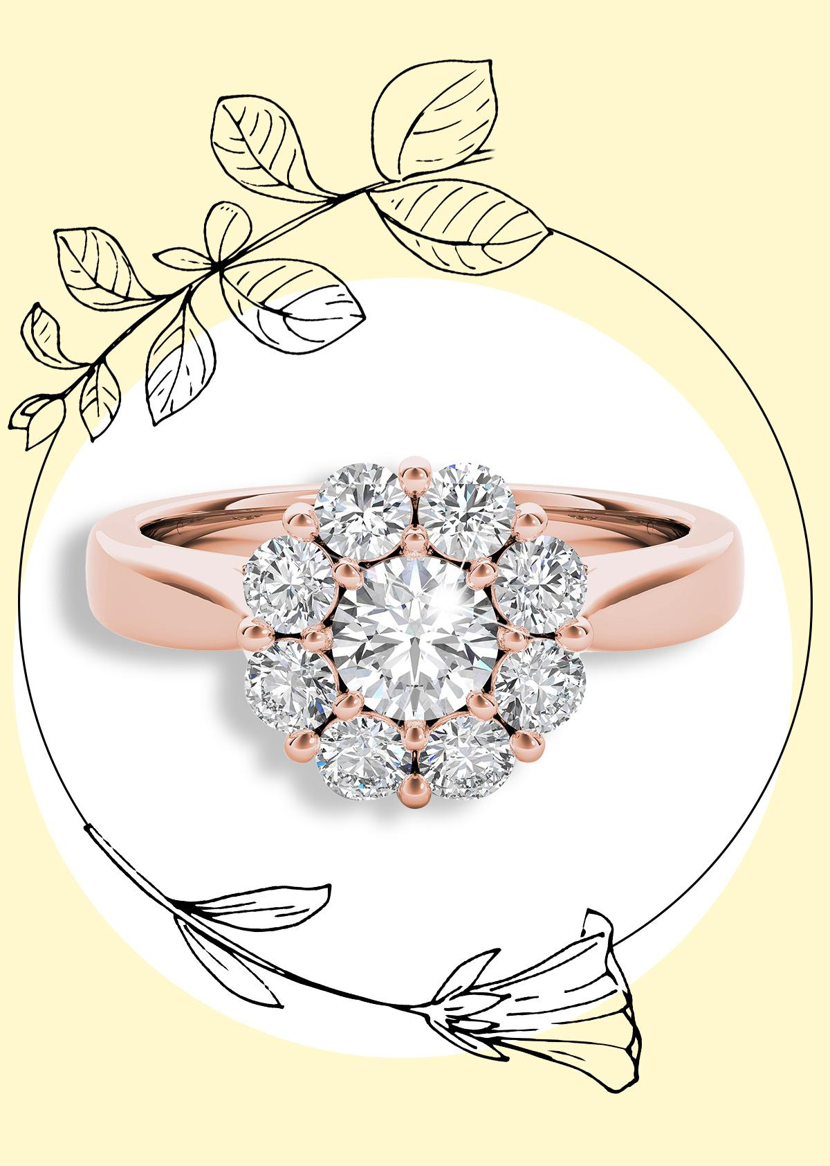 The Diamond Story 18ct Rose Gold 1ct Diamond Ring