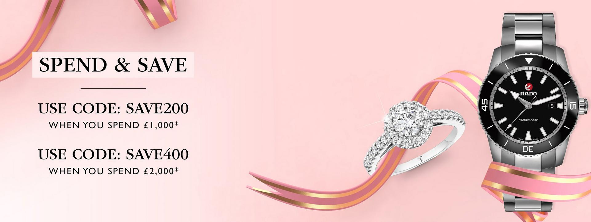 Save up to £400 on watches and diamonds at Ernest Jones